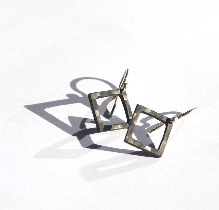 square carbon fiber earrings