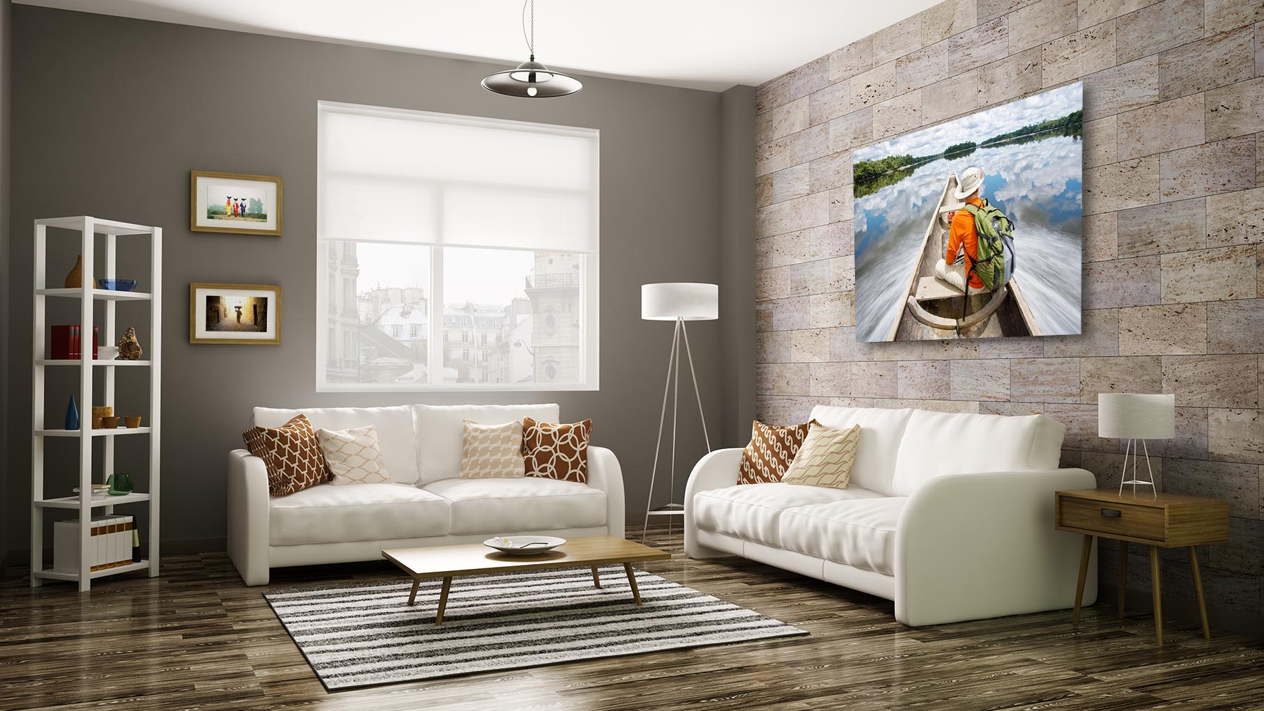 Modern living room interior 3d rendering. All images, photos, pictures used in this interior are my own works, all rights belong to me.