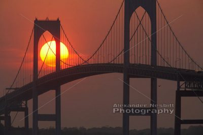 Newport Bridge - Firey sunset 1