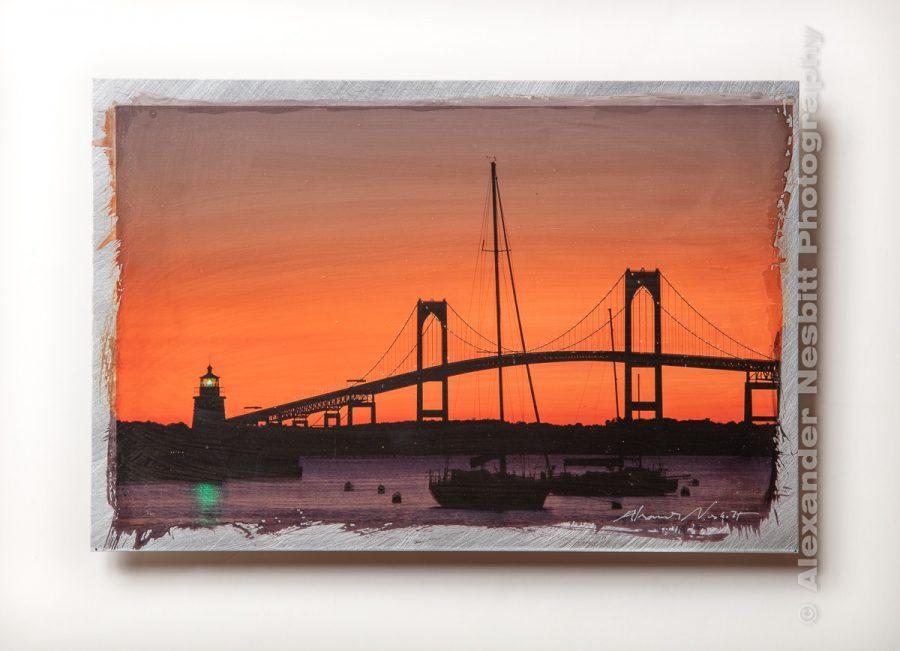 Handmade aluminum print, Newport Bridge