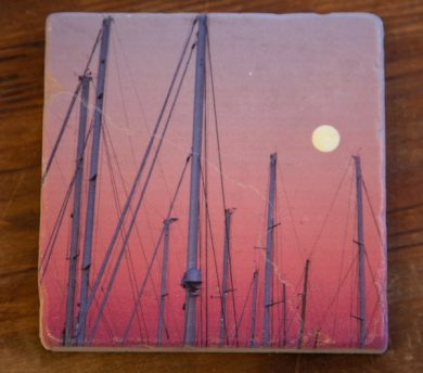 Shipyard Masts on a Marble Coaster