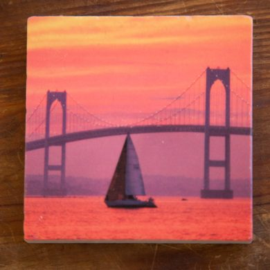 Pink Sunset by the Bridge on a Coaster