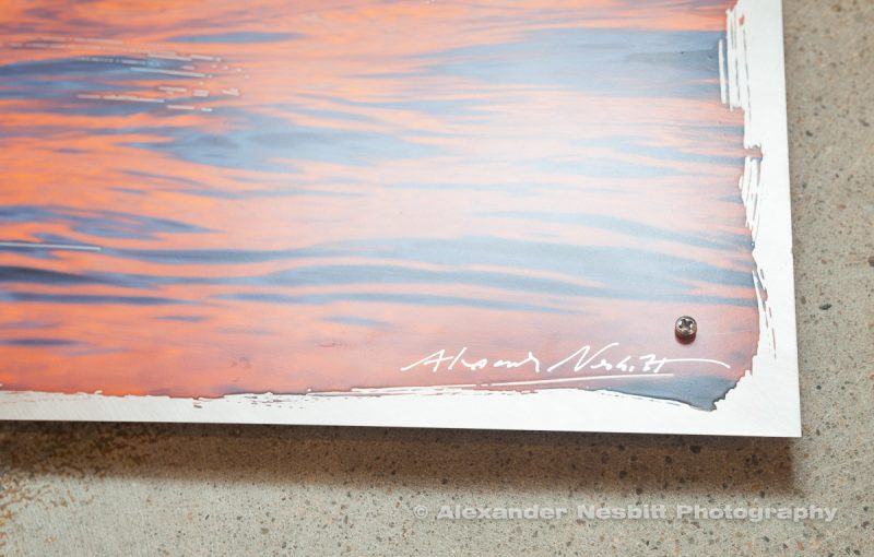 "close up on the signature - Harbor ripples as a 12x24"" hand coated Aluminum print"