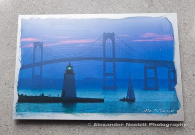 Blue Dusk, Newport Bridge Aluminum print - hand coated