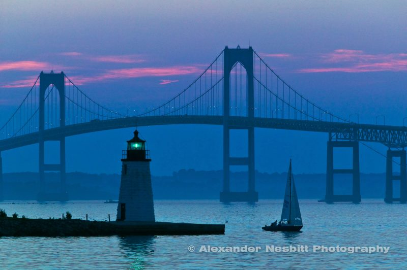 Blue Dusk on the Point with the Newport Bridge