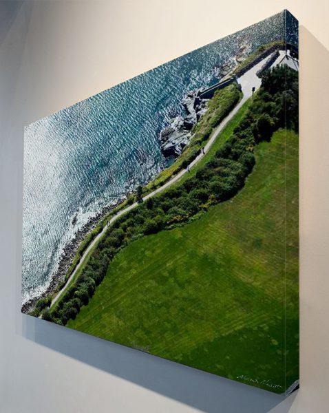 "Newport, RI - The winding path of the Cliffwalk against the Atlantic near ""40 steps"" at Narragansett Ave."