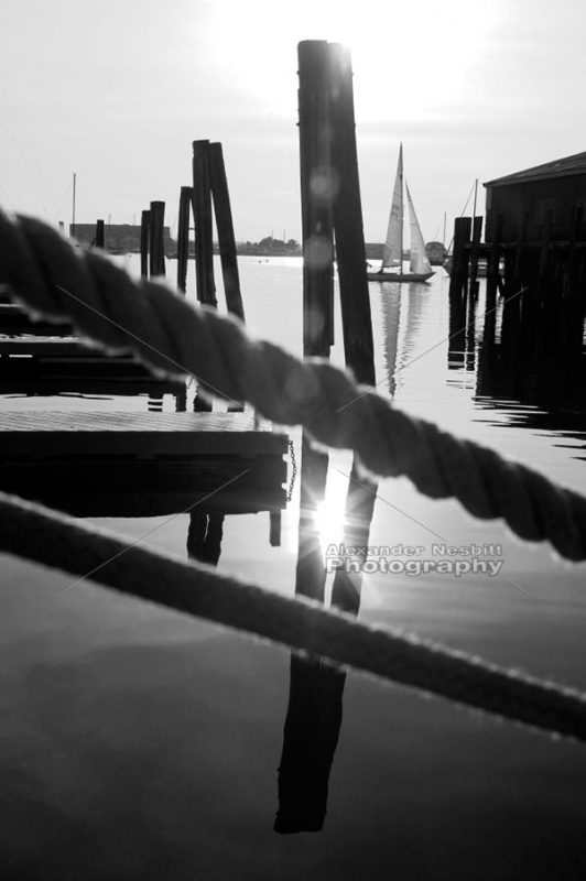 Bannister's wharf black and white