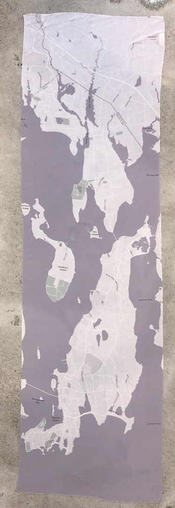 Newport Map Scarf with Map of Newport and Aquidneck island