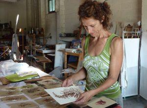 Gallery artist Mary Jameson in her studio