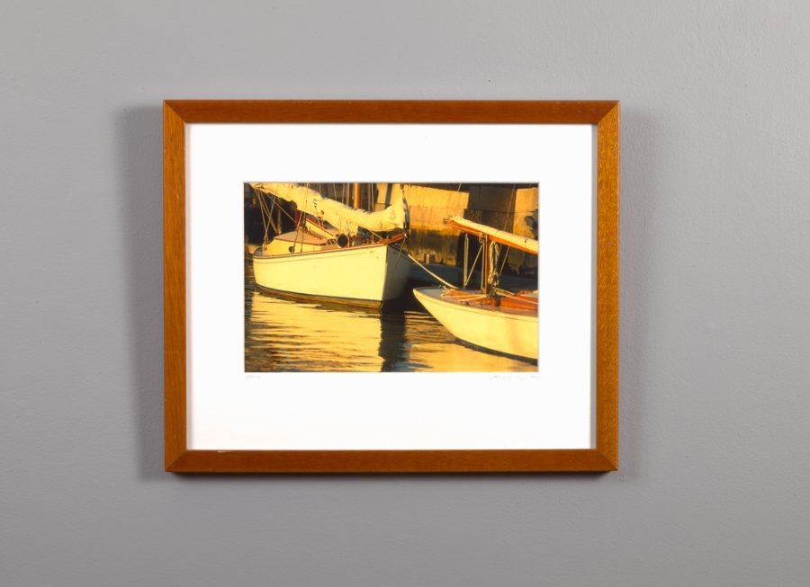 framed 8x10 of small boats at a pier in Newport, RI