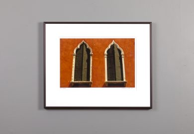 framed 11x14 showing a pair of windows in Venice