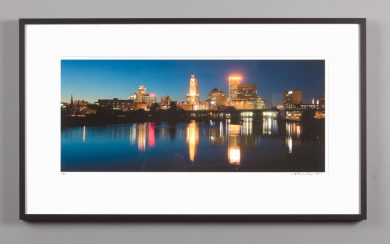 framed 9x20 photograph of Providence skyline