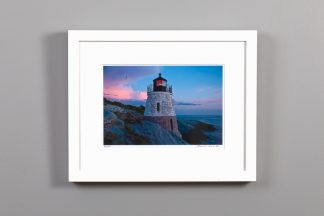 castle hill lighthouse with a pink cloud, framed 8x10 image