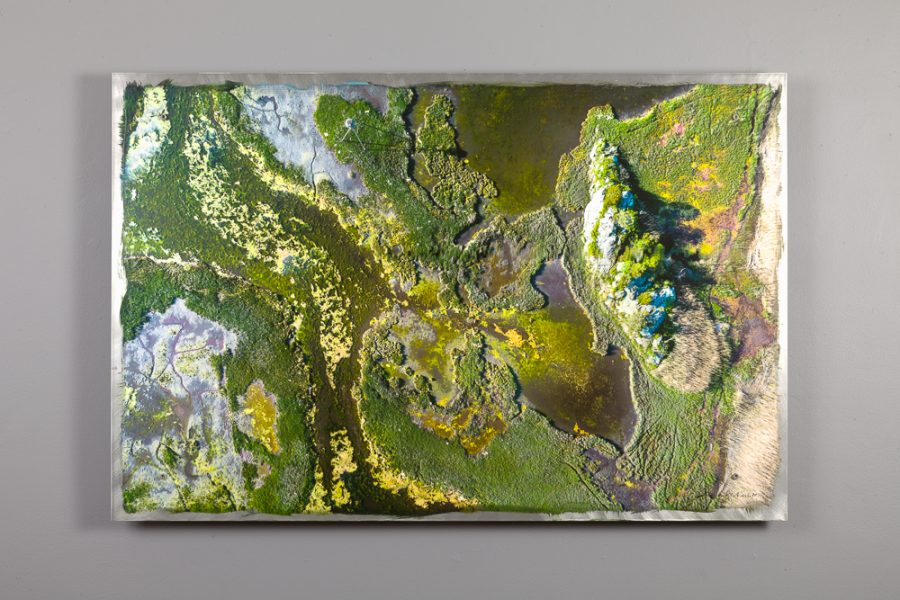 arial view of the hazard road marsh printed on aluminum 24x36