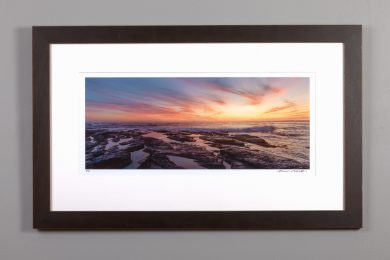 framed 9x20 image of sunset at brenton point state park
