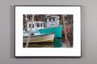 framed 13x20 image of working boats at the pier in Newport