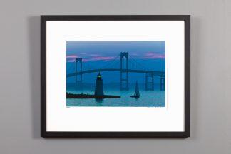 framed image of newport bridge at dusk