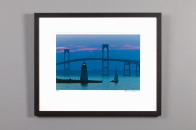 framed image of newport bridge at dusk