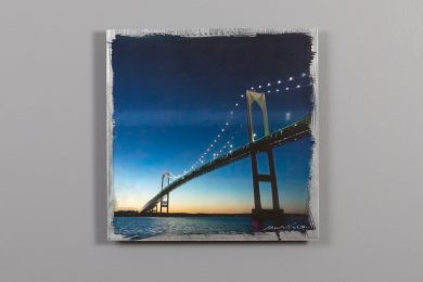 12x12 aluminum print of newport bridge