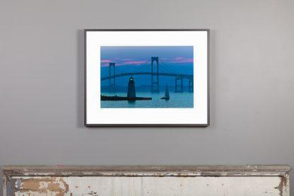 framed Blue Dusk 13x20 hangs above mantle