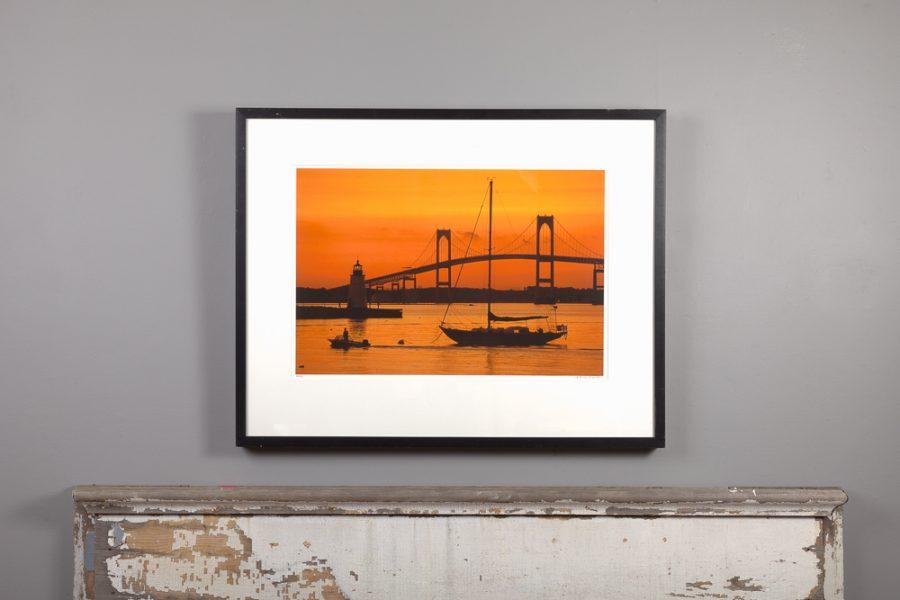 framed 16x24 image of Orange Sunset over a mantle