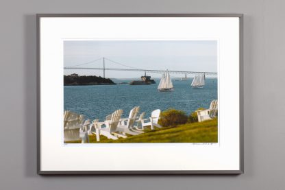framed 13x20 image of the harbor view from Castle Hill's lawn