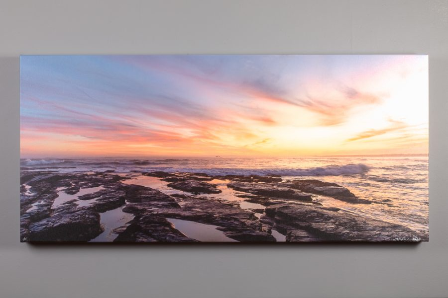 sunset off brenton point image printed on canvas