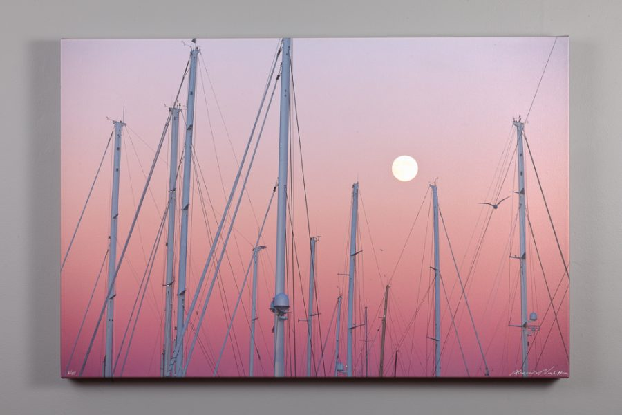 24x36 canvas print of full moon over the shipyard