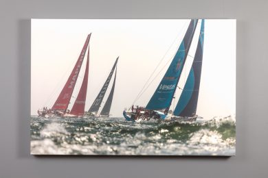canvas print of 2018 Volvo Ocean Race boats underway