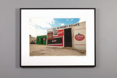 "Framed 13x20 image ""USA No Money No Life"" a bar in Namibia"