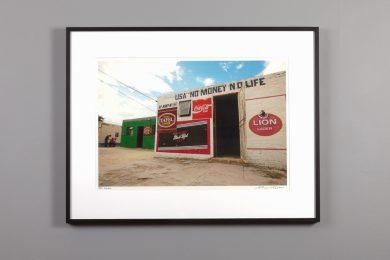 "Framed 13x20 image ""USA No Money No Life"" a bar in Namibia"