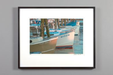 boats tied up, print 11x14 framed
