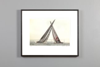 sails appear to cross as two boats race around a mark - framed 11x14 print