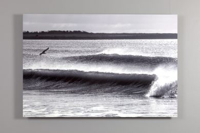 black and white image of crashing waves at sachuest beach 24x36 dye sublimation print