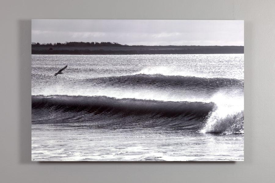 black and white image of crashing waves at sachuest beach 24x36 dye sublimation print