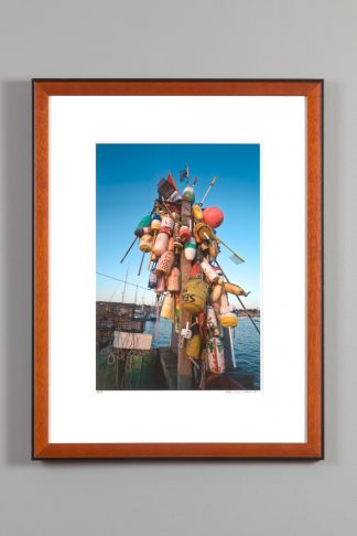 "framed image of the ""buoy tree"" on Newport's state fishing pier"