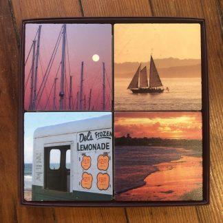 Coaster set 3 - Dels lemonade, Lunar Masts, Sachuest Beach, Schooner Madeline