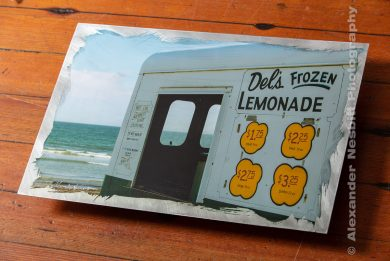 Image of a Del's Lemonade truck on hand prepared aluminum. Artwork by Alexander Nesbitt
