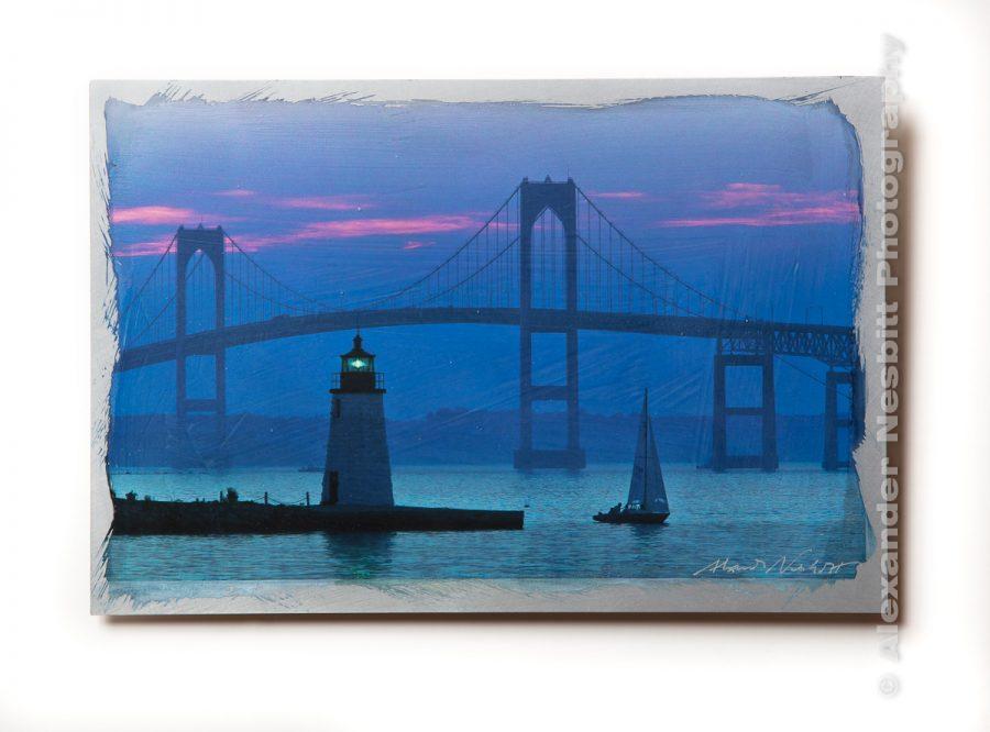 Newport bridge print on hand coated aluminum