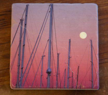Shipyard Masts on a Marble Coaster