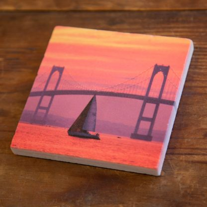 Pink Sunset by the Bridge on a Marble Coaster