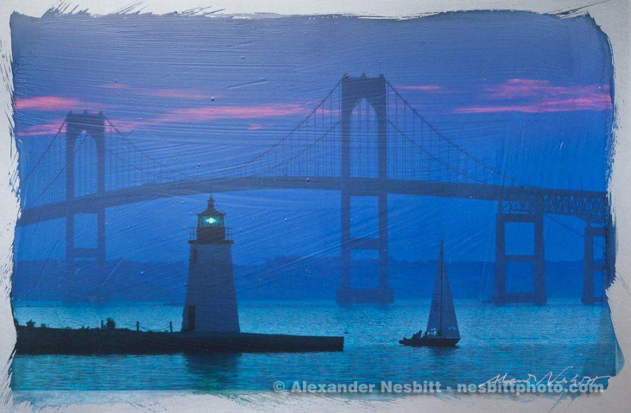 Newport Bridge Blue Dusk as a hand coated 8x10 aluminum print