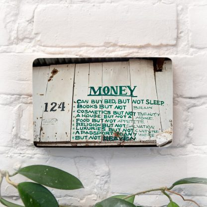 African sign about money photo block