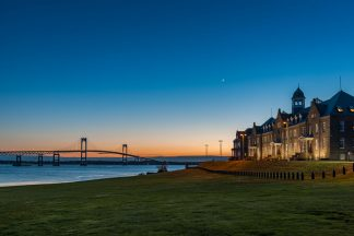 Naval station Newport - Naval War College at Night with the Newport Bridge