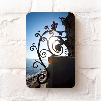 Iron gate on cliff walk, Newport