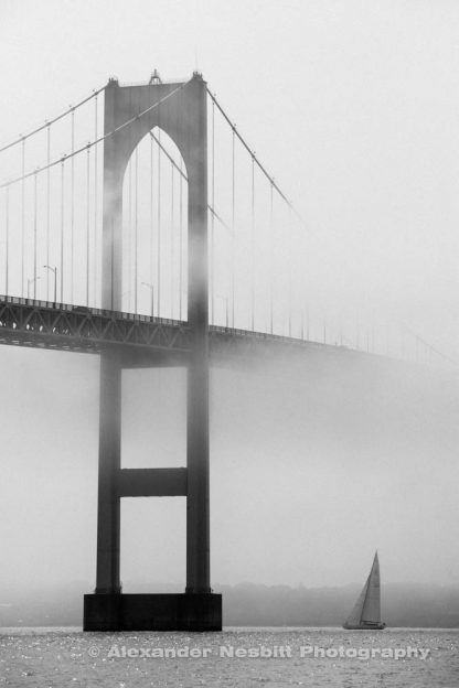Foggy Bridge Black and White