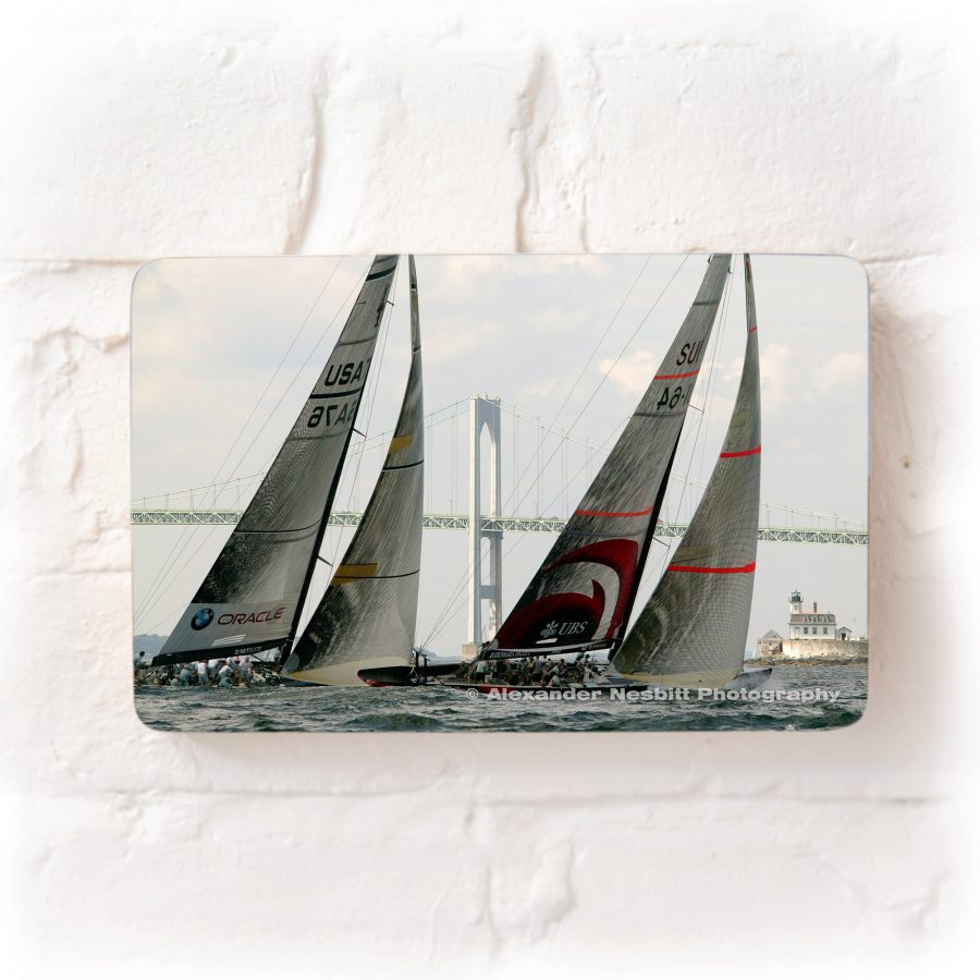 America's Cup yachts race for the UBS trophy, Newport RI