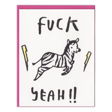 """Fuck Yeah!!"" zebra notecard by ghost academy"